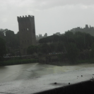 River side upon arrival in Florence. It was very Rainy