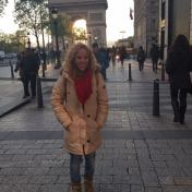 Standing in front of the Arch of Victory in Paris