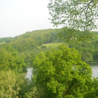 View from the train platform of Baldeneysee Lake below