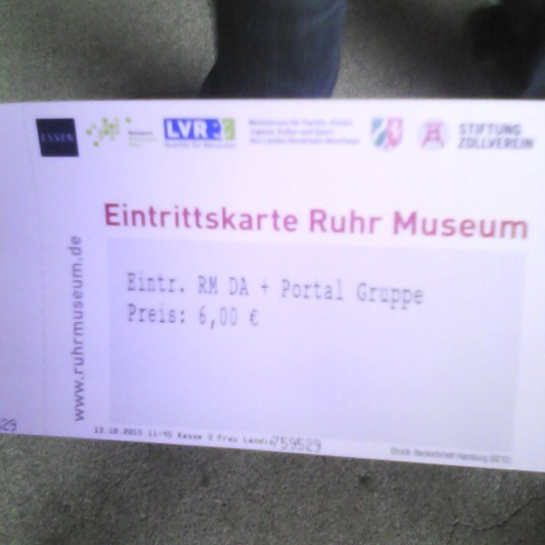 Entry card to the Ruhr Museum part of Zollverein houses the museum