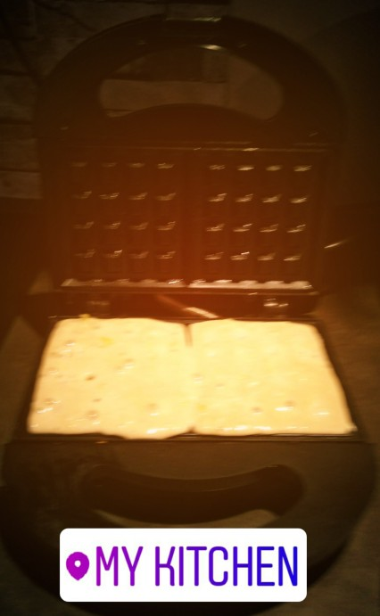 Waffles being made