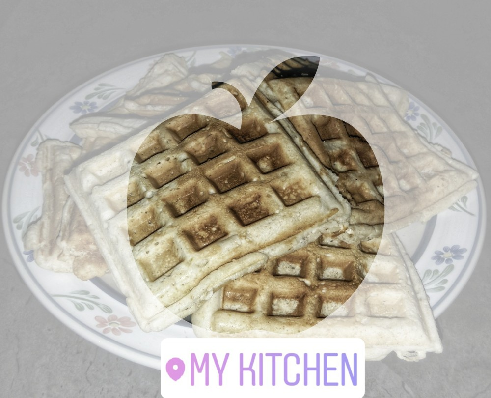 One of the waffles were eaten