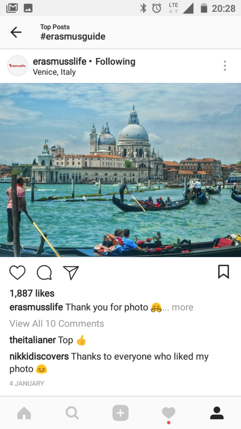 More popular hashtag and getting featured on Erasmuslife feed