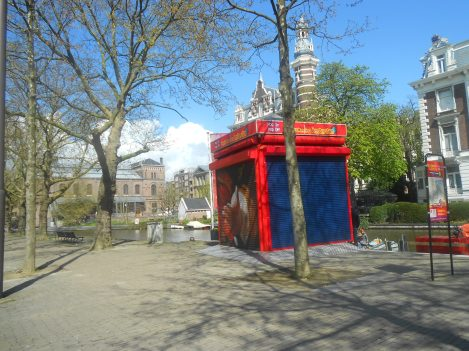 Ticket kiosk of the  hop on hop off bus in Amsterdam avoid using this bus