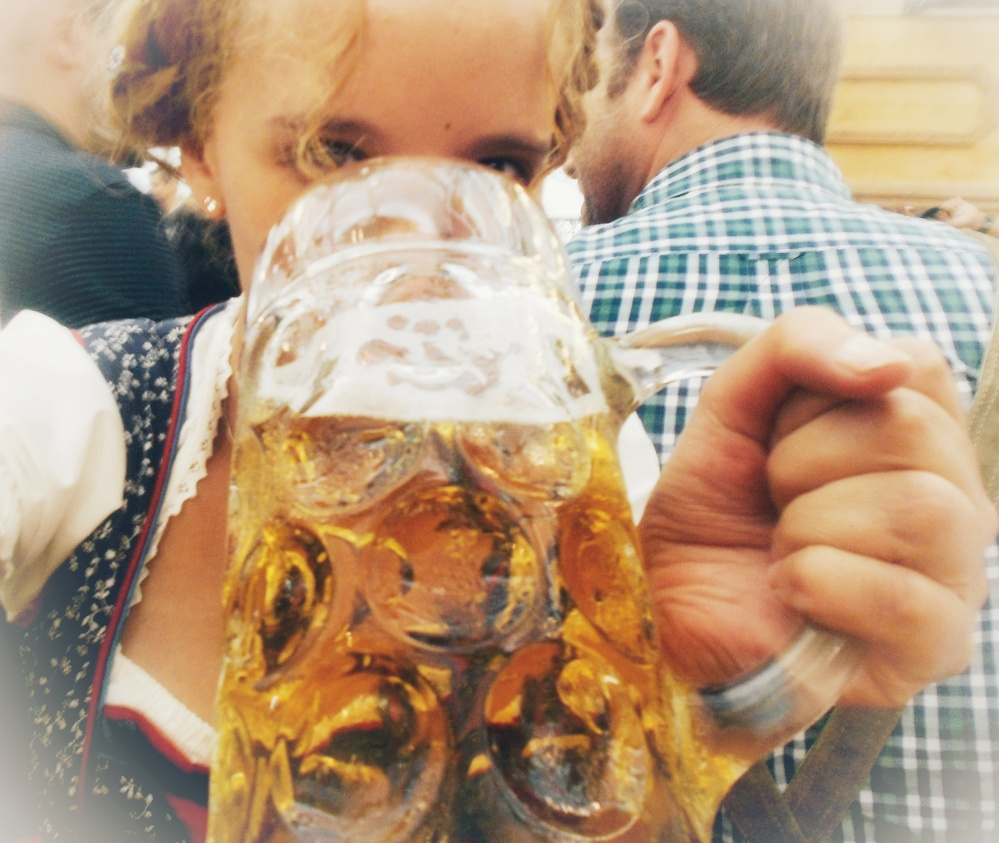 Sipping Oktoberfest beer