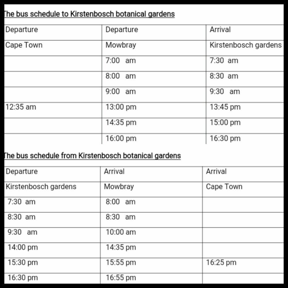 schedule to and from kistenbosch national botanical garden