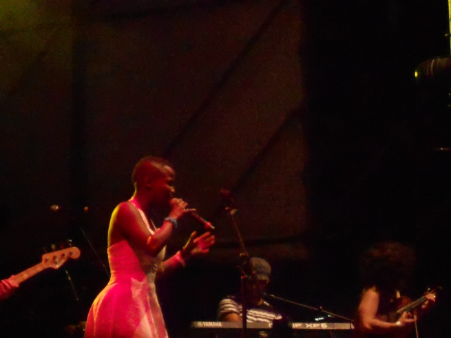 Zolani Freshly Ground lead singer at Christmas Lights Switiching on Concert