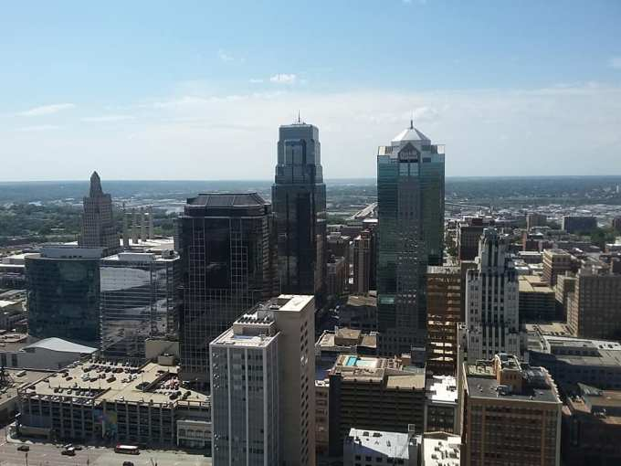 The pointy building on the left is the KC Power and light building which was built in the 1930s and was the city's tallest building for almost 50 years