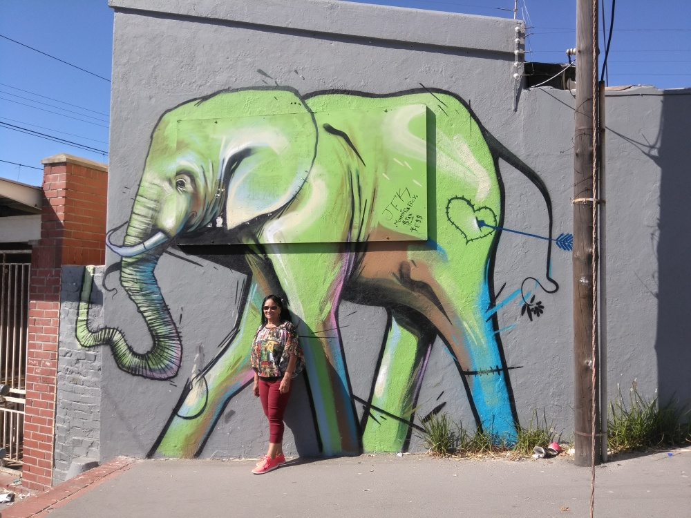 Mural close to the train tracks of Muizenberg