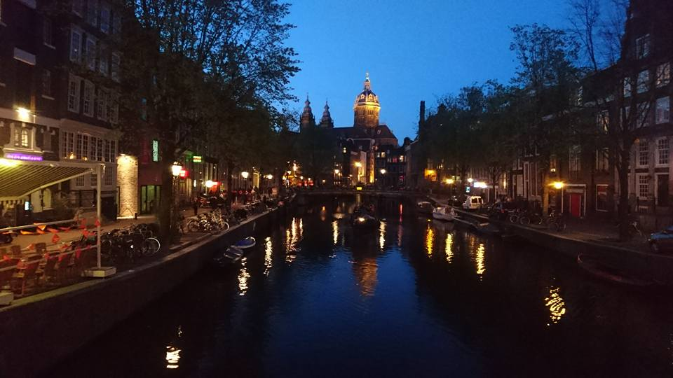 Night time in Amsterdam on Kings Day