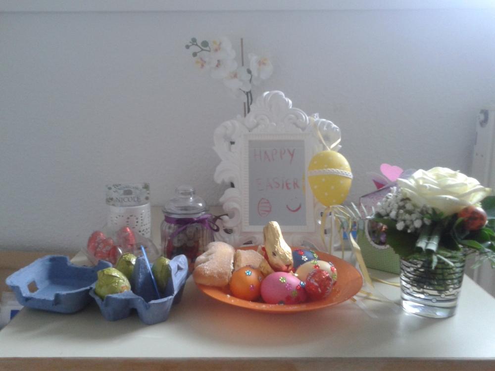 My Easter eggs, bunny, flowers and half eaten Lamb in my dorm room in Essen, Germany