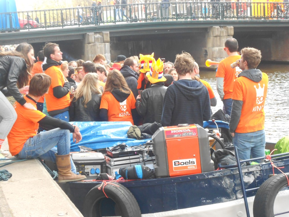One of the boats on the canals on Kings Day