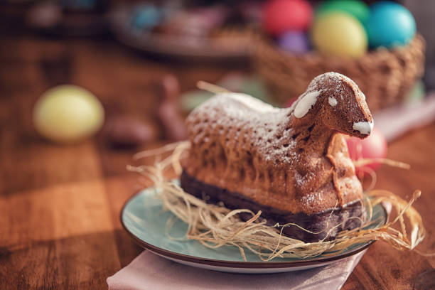 Easter Lamb Cake served on a Plate, Source: iStock