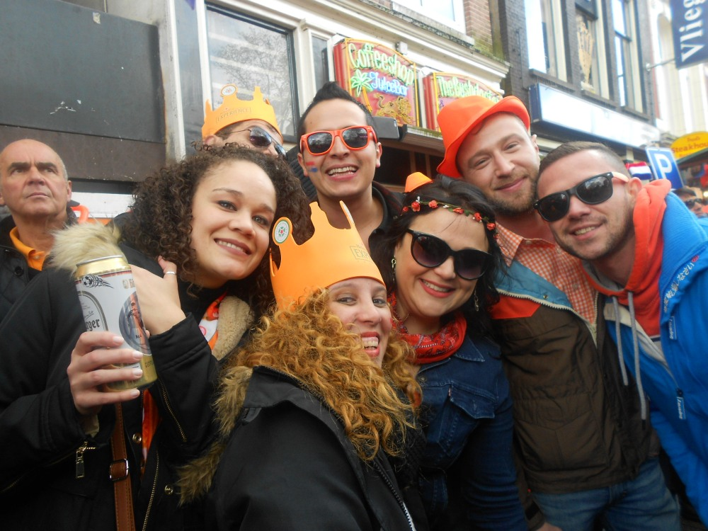 One drink at a time at Kings Day in Amsterdam