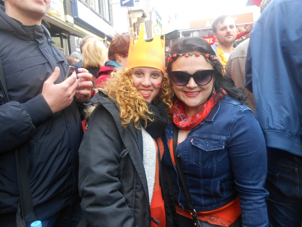Dressed warm on Kings Day in Amsterdam