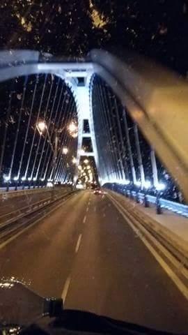 Bridge leaving Bratislava in front of bus view