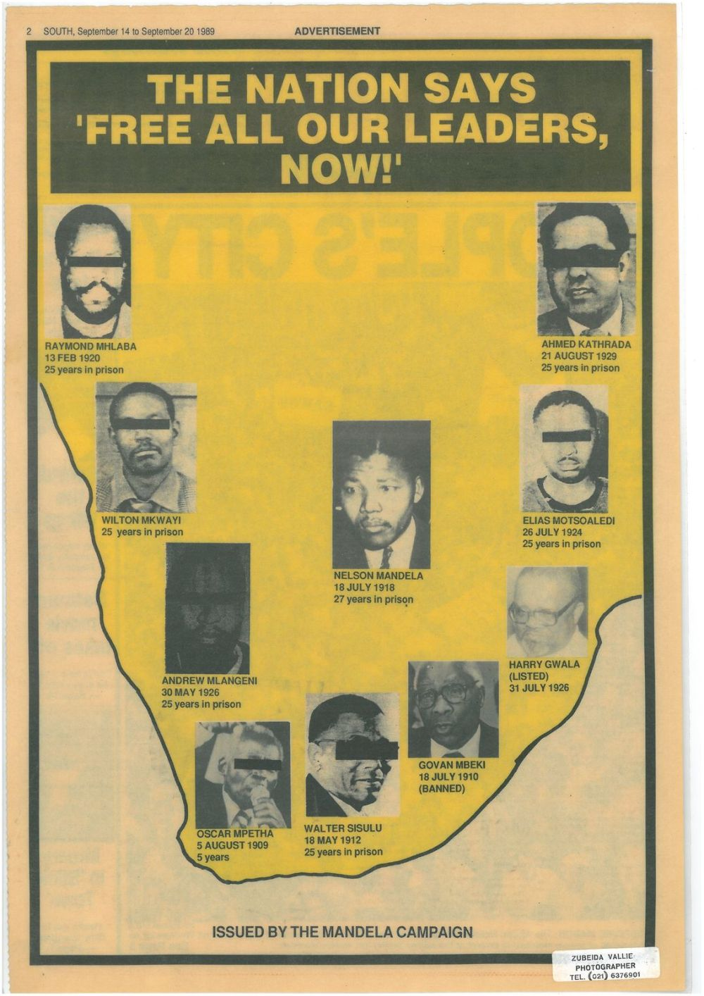 Campaigns to free Nelson Mandela were widespread. This was issued by an anti-apartheid newspaper at the time
