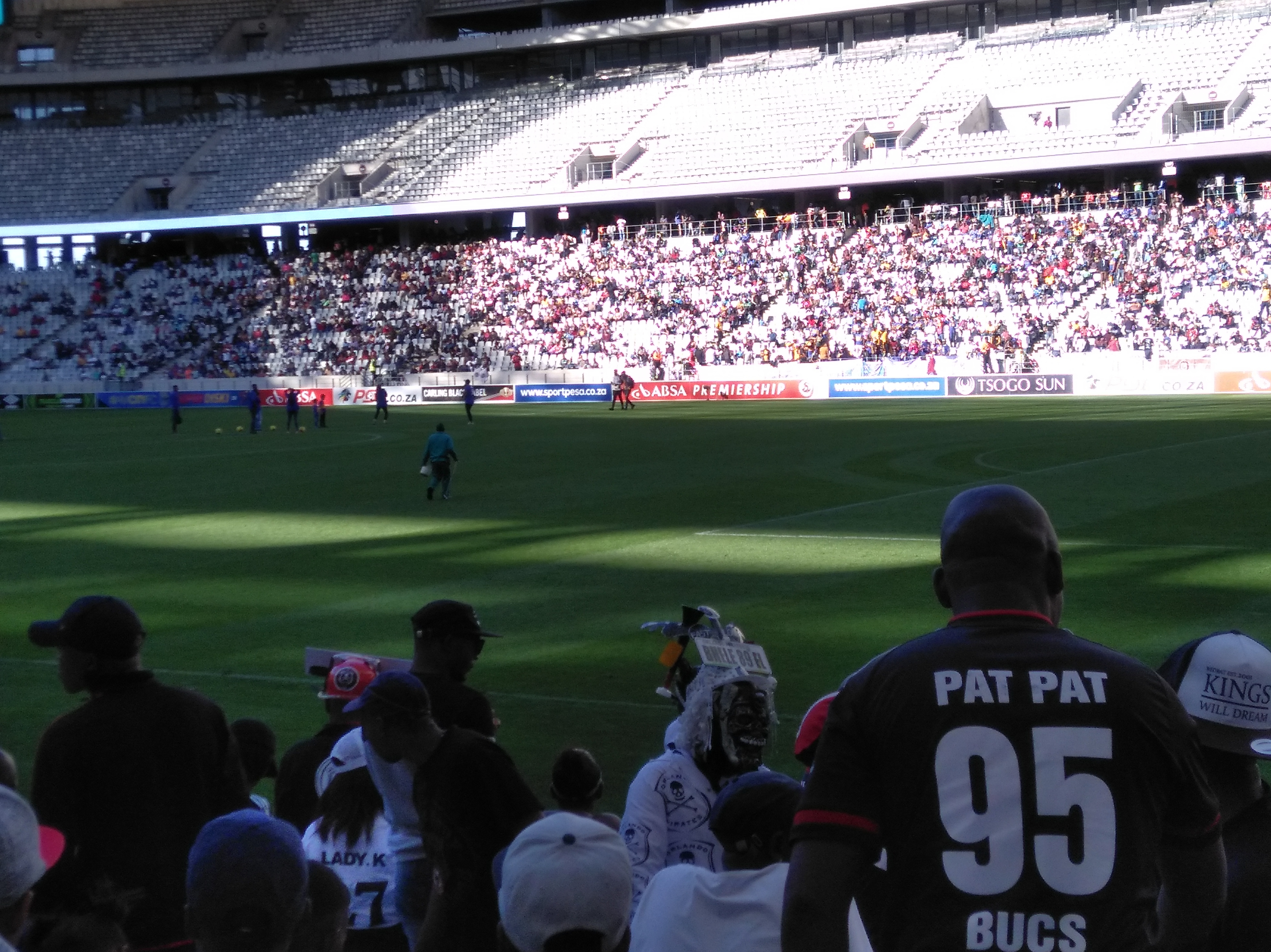 Soccer fans at Cape Town Stadium